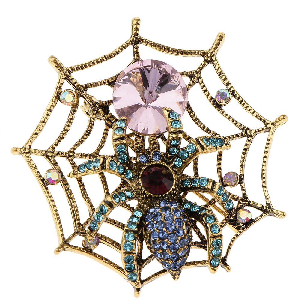 Homyl Exclusive Scarf Dress Accessories Alloy Rhinestones Spider Web Brooch Pin