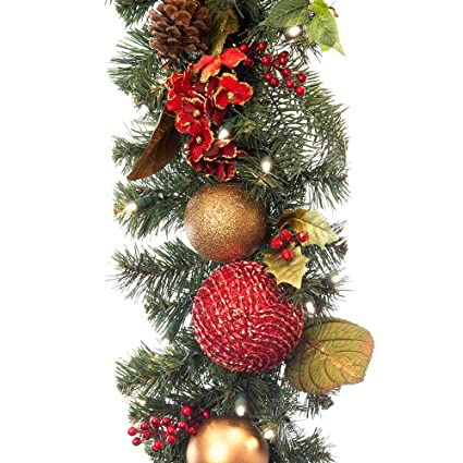 Amazon Com 9 Ft Artificial Pre Lit Led Decorated Christmas Garland