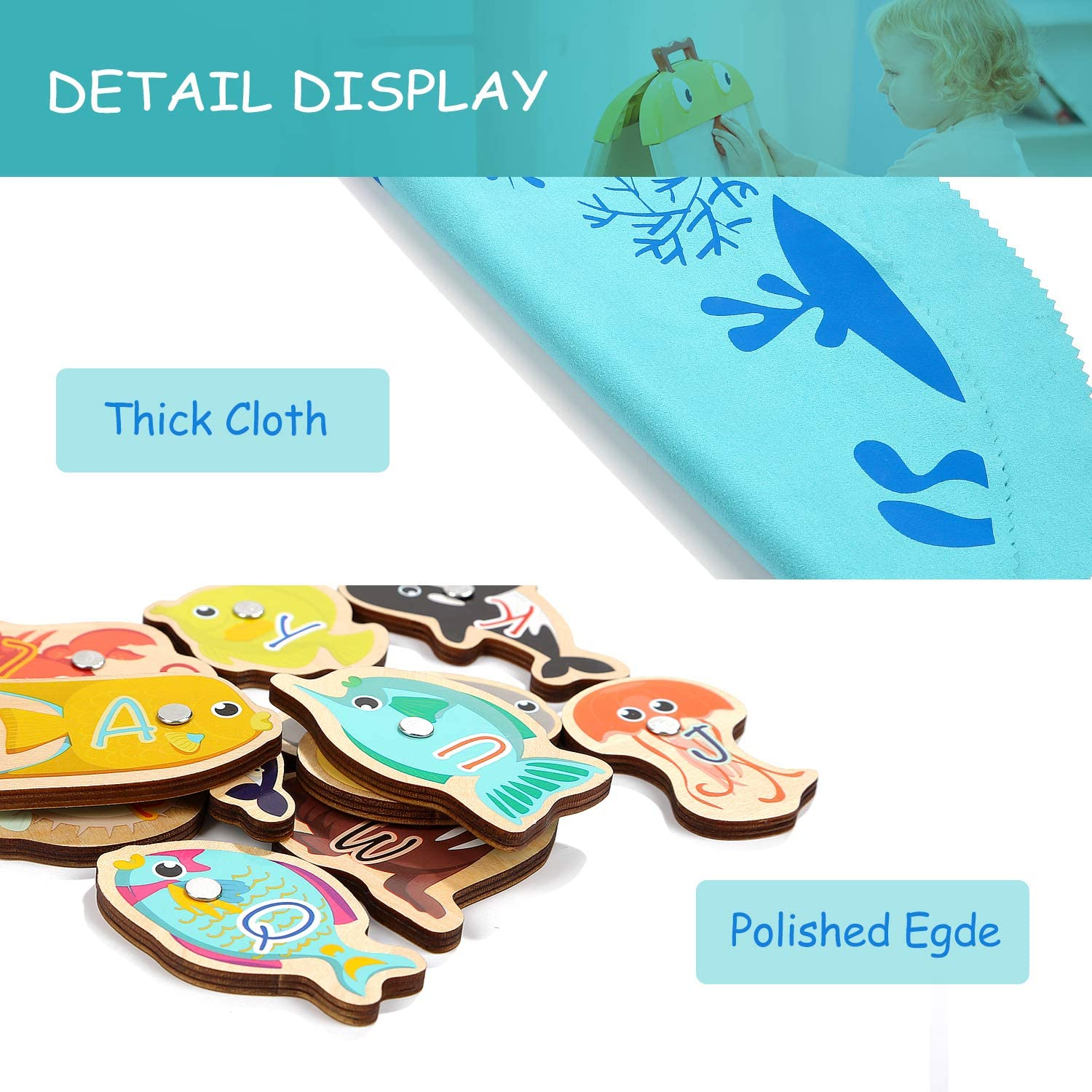 Brithday Gifts for 2 3 4 Year Old Boys and Girls TOP BRIGHT Toddler Fishing Game Magnetic Toys Fish Game for Kids with Alphabet Fish and 2 Toddler Fishing Poles