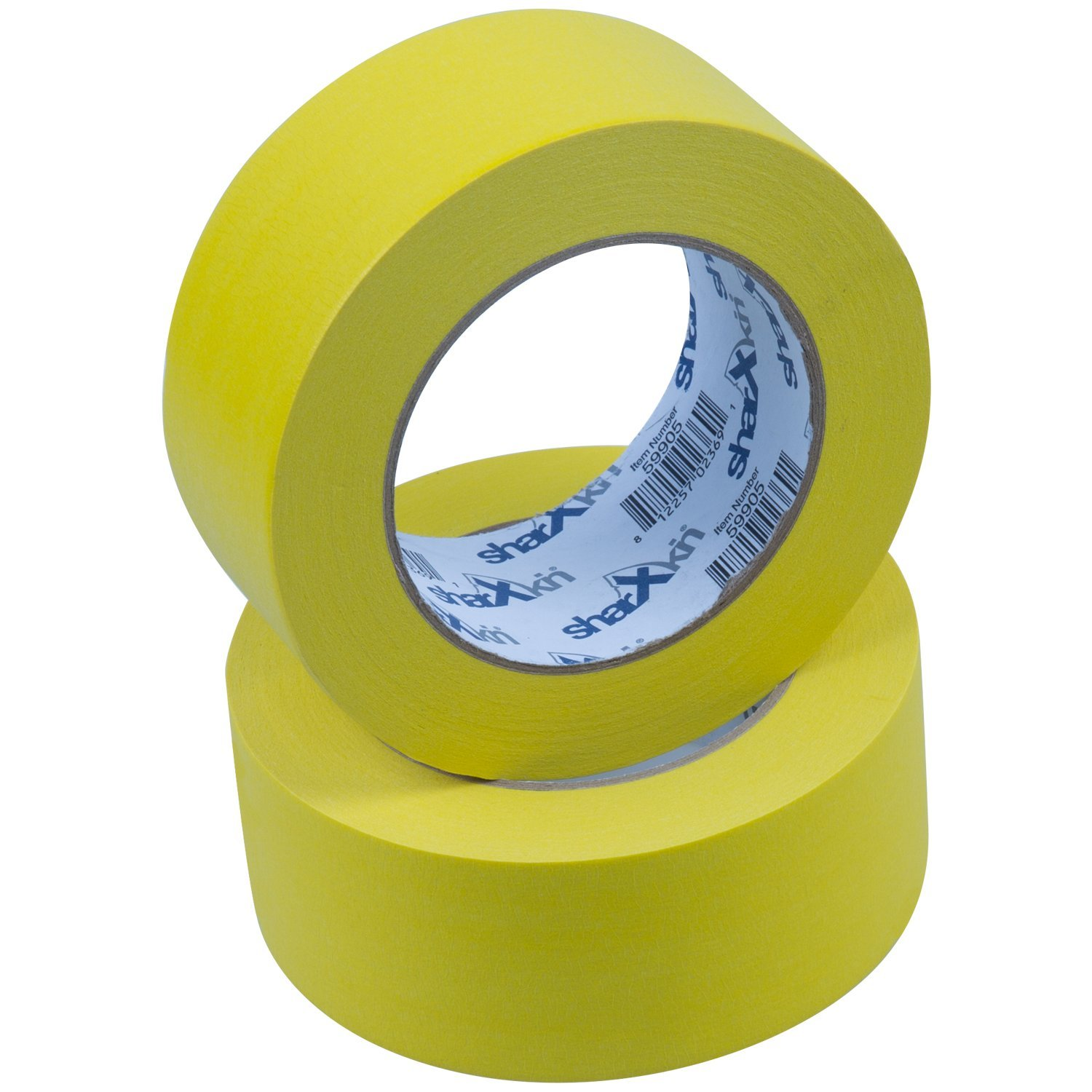 Sharxkin No-Residue Masking Tape, Yellow, 2-Inches x 60-Yards, Pack of 24 Rolls