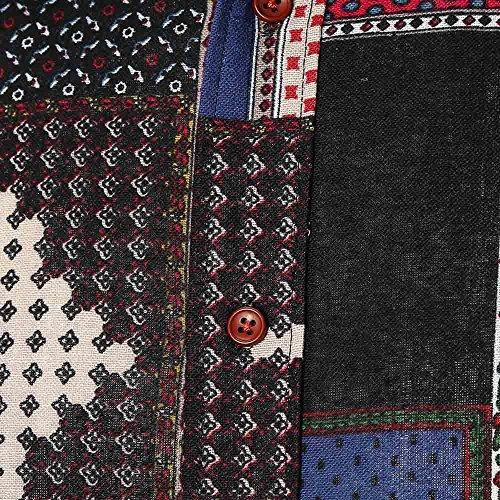 Top Negro Casual Verano Los Plaid Slim Print Larga Manga De La Grande Impresa Camisa Personalidad Alikeey Camiseta Hombres Blusa wq7zU1xR