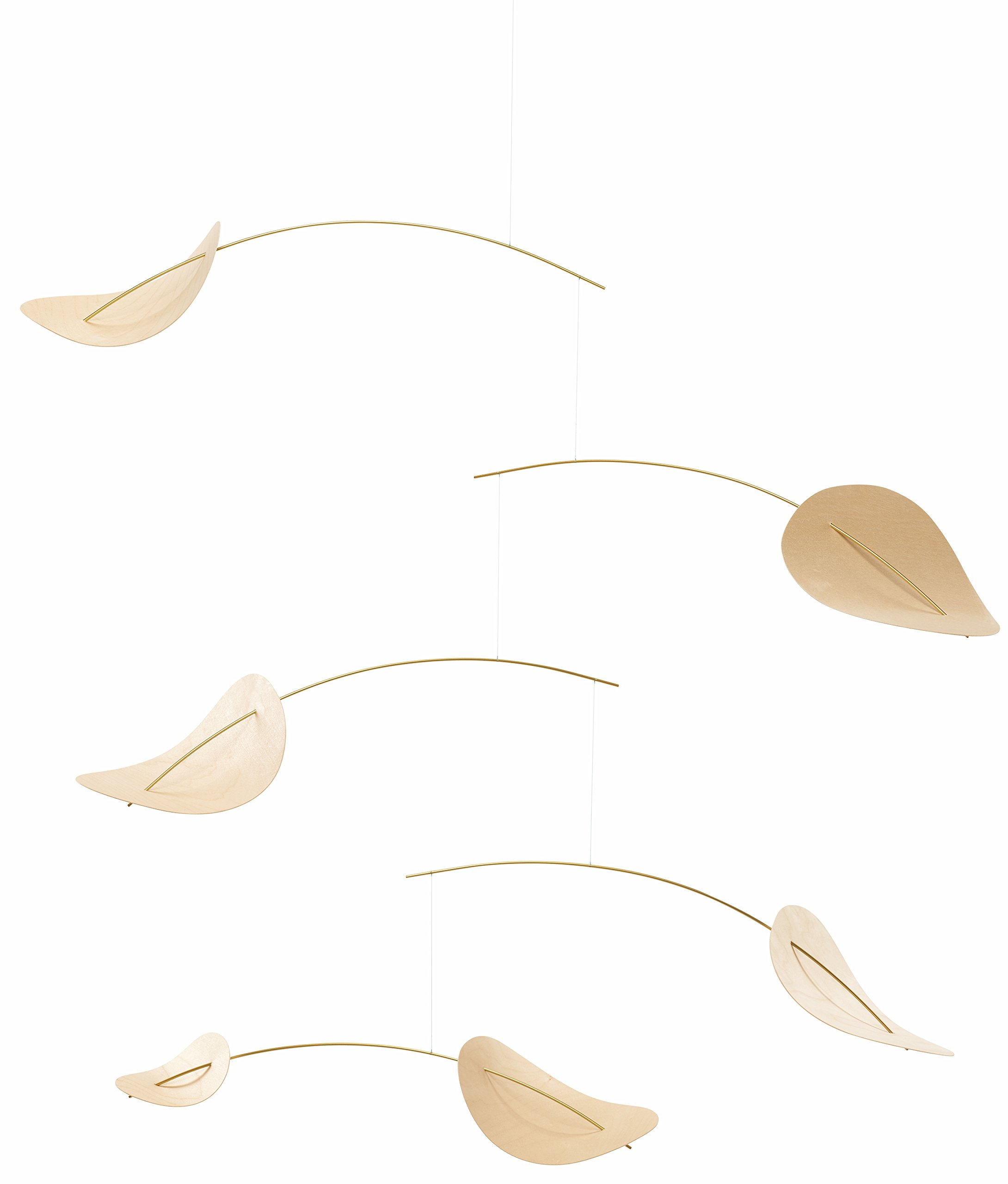 Drifting Clouds Hanging Mobile - 39 Inches - Beech Wood and Steel - Handmade in Denmark by Flensted by Flensted Mobiles
