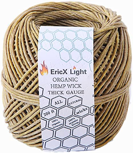 Wicks for Candle Making 200ft Hemp Wick 100/% Organic Beeswax Hemp Wick Well Coated with Natural Beeswax for Making Candles Light