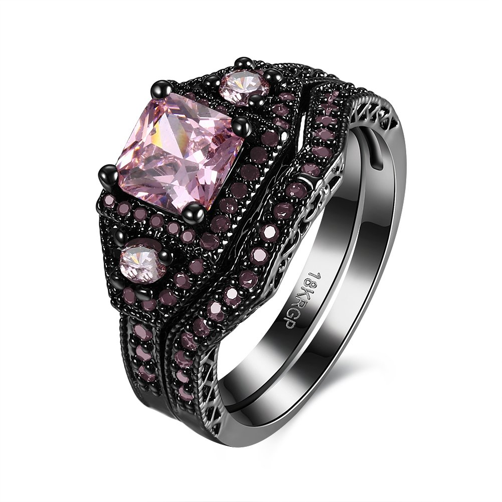 Eternity Love Wedding Bands Women's 18K Black Gold Plated Rings Princess Cut Purple/Black/Pink CZ Crystal Engagement Rings Best Promise Rings Anniversary Wedding Rings for Lady Girl Jewelry Store 0.01 JPR870-CA