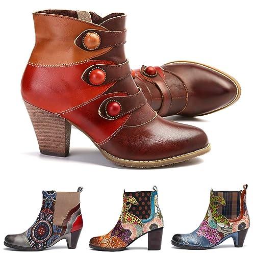 83f7c101d4 Botines Mujer Cuero gracosy Botas Otoño Invierno Tacón Alto Hecho a Mano  Vintage Bohemio Verde Marrón Amarillo Zapatos Laterales con Cremallera para  Mujer  ...