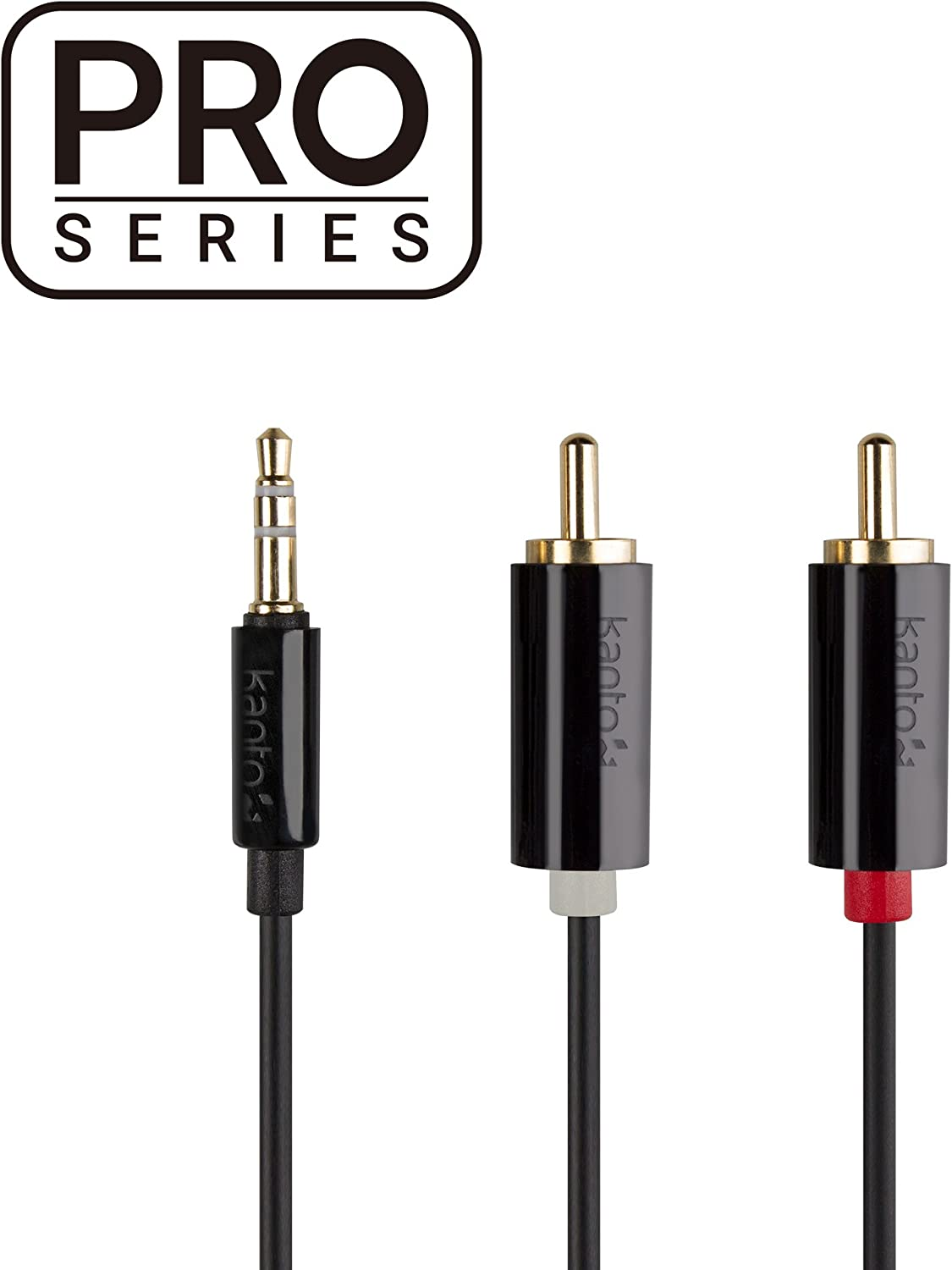 Male 3-Pole to Male 10 Kanto P76F-3000B Pro Series 3.5mm Stereo to 2X RCA 3 M Black