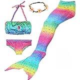 AMENON 3PCS Kids Mermaid Tail Swimsuit Princess Bikini Set Swimwear Can Match Monofin (With Garland)