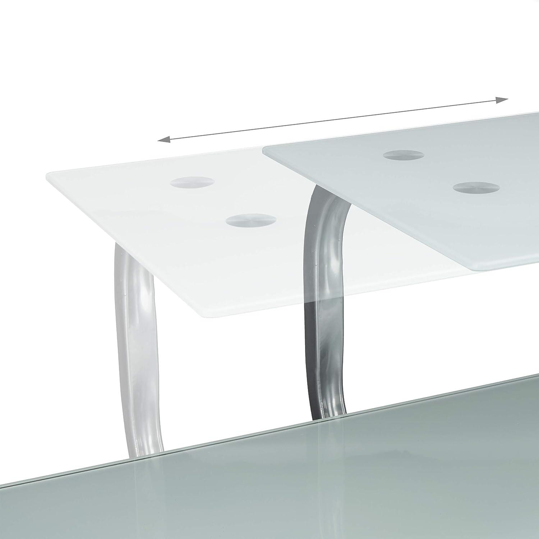 Modern metal 94 x 110 x 63 cm Glass MDF boards HWD 94 x 110 x 63 cm Keyboard Tray /& Shelf White Relaxdays PC Desk