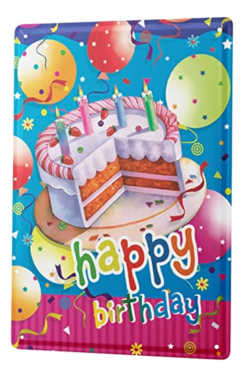 Amazon.com: Tin Sign Fun escudo tarjeta de cumpleaños feliz ...