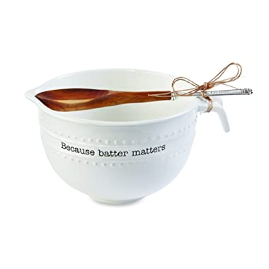 Mud Pie 4601093 Batter Matters Mixing Bowl Set, One Size, White