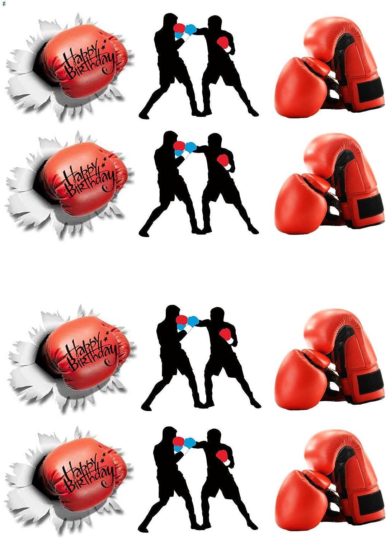 Boxeur collection 12 stand up Gaufrette Comestibles Papier glaçages pour gâteau Nouveauté boxe