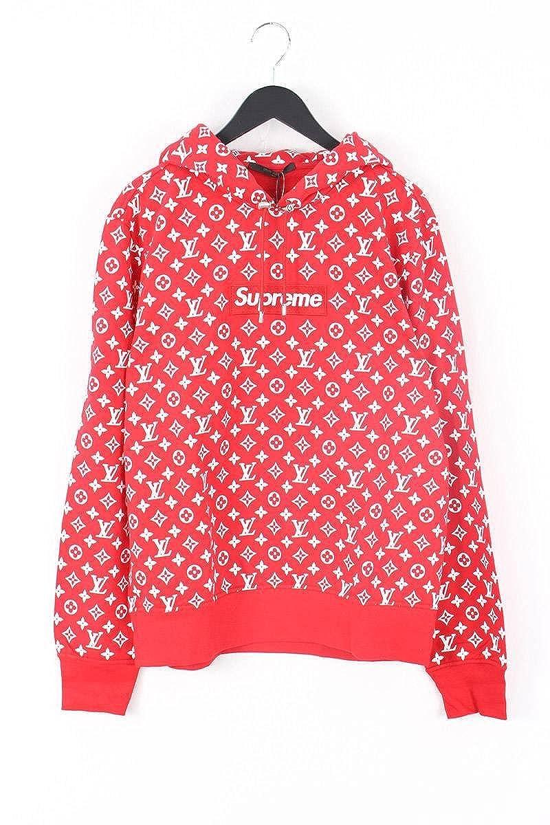 (シュプリーム) SUPREME ×ルイヴィトン/LOUISVUITTON 【17AW】【LV Box Logo Hooded Sweatshirt】ボックスロゴプルオーバーパーカー(XL/レッド) 中古 B07FZHXY2L