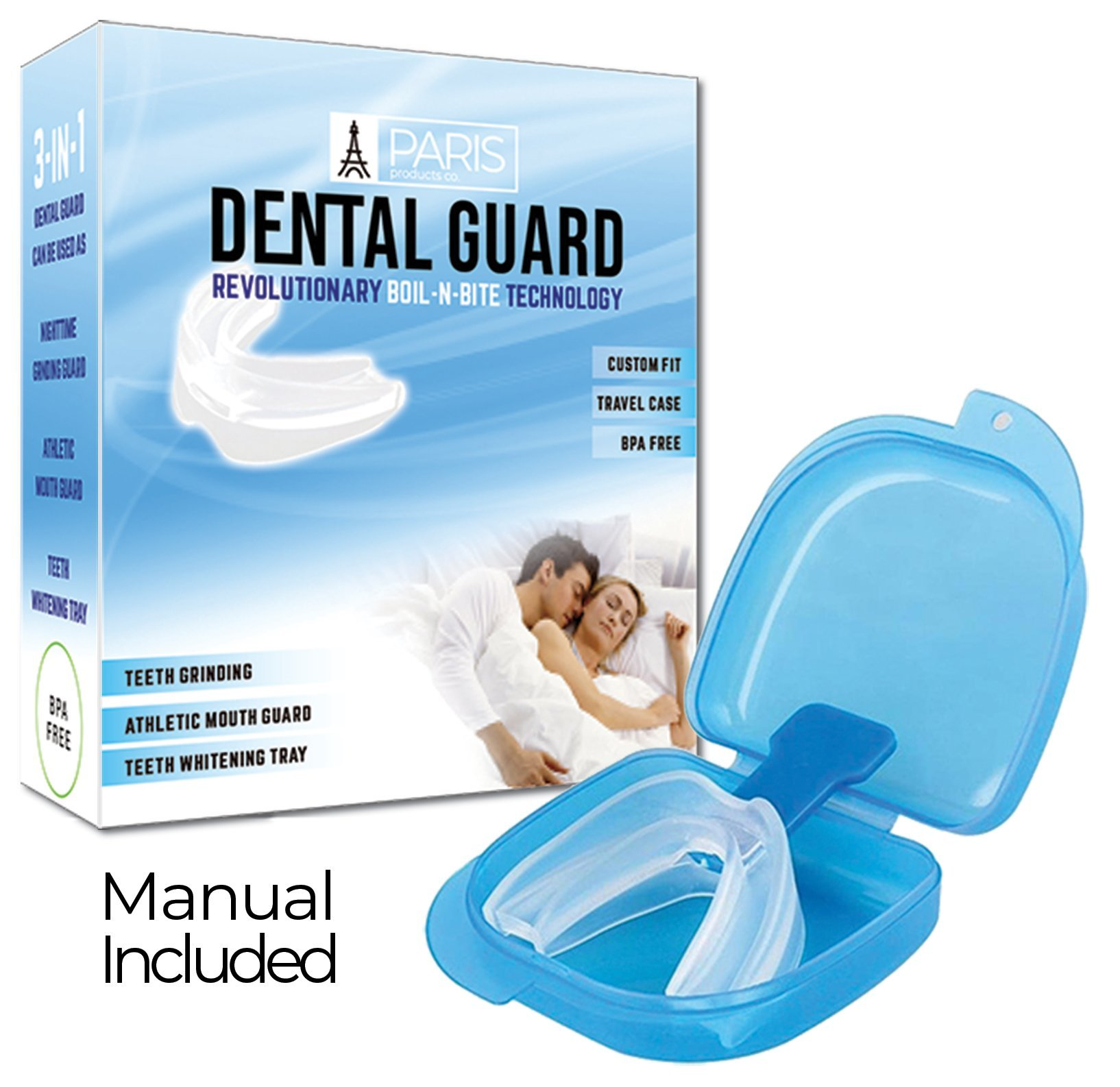 Professional Dental Guard - Stops Teeth Grinding, Bruxism & Eliminates Teeth Clenching, Includes Instructions & Anti-Bacterial Case   Athletic Mouthguard Sports Mouthpiece SATISFACTION GUARANTEED