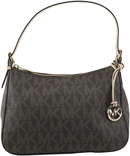 Michael Kors Small Top Zip Shoulder Bag in Brown PVC Monogram ...