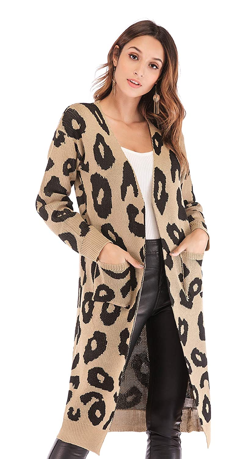 40aba63d24a BTFBM Women Long Sleeve Open Front Leopard Knit Long Cardigan Casual Print  Knitted Maxi Sweater Coat Outwear with Pockets