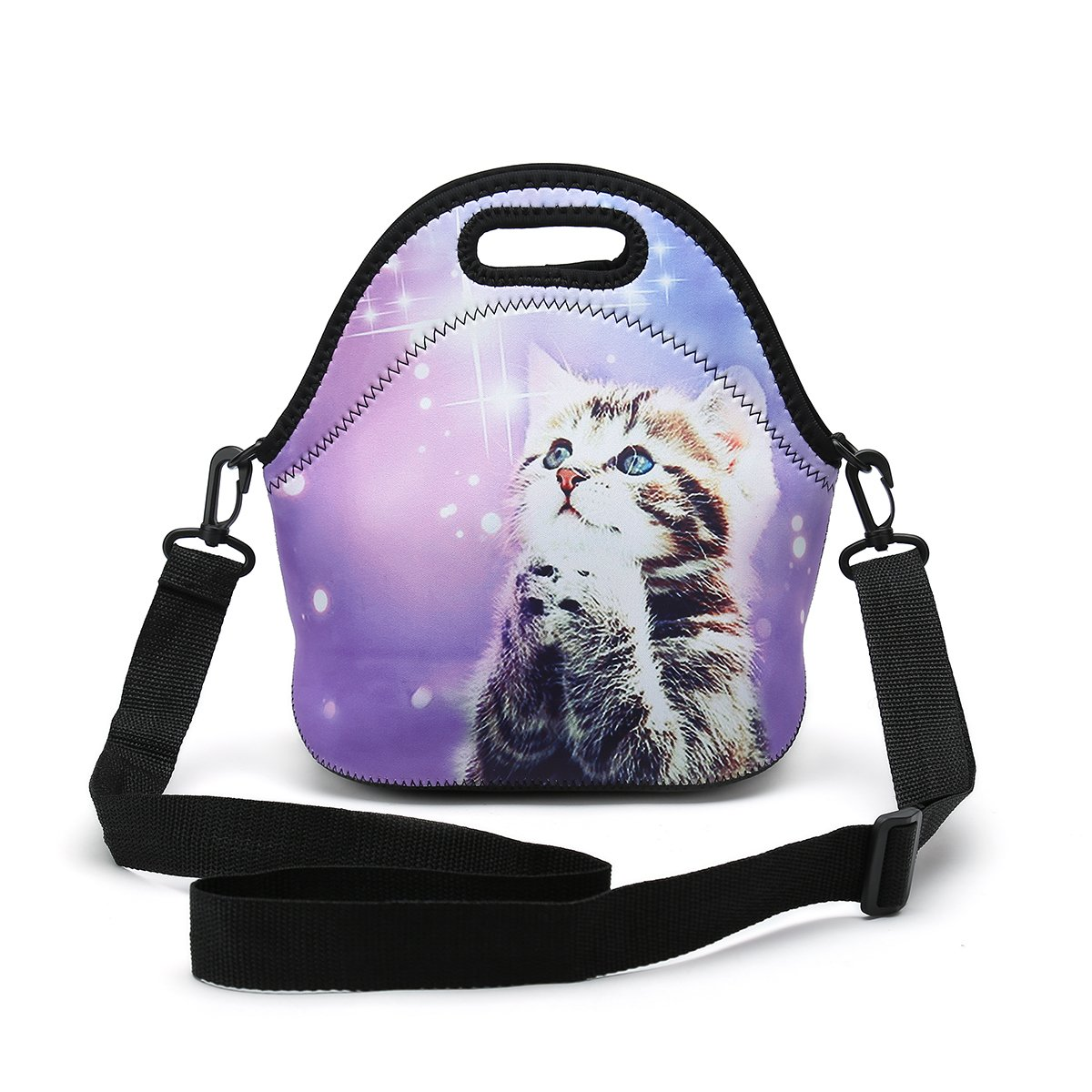 Insulated Neoprene Lunch Bag Removable Shoulder Strap Reusable Thermal Thick Lunch Tote Bags For Women,Teens,Girls,Kids,Baby,Adults-Lunch Boxes For Outdoors,Work,Office,School (Wish Cat)