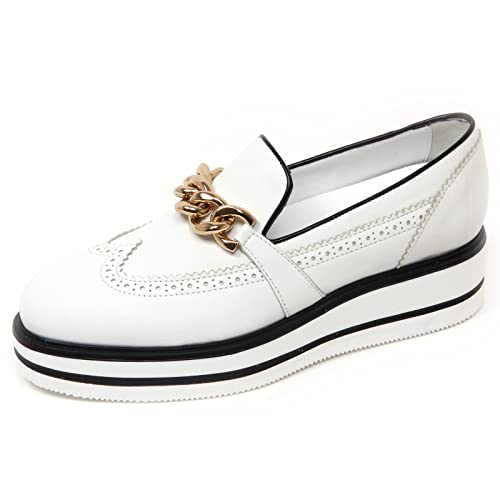 D0614 mocassino donna HOGAN H323 n. route zeppa bianco/nero slip on shoe woman