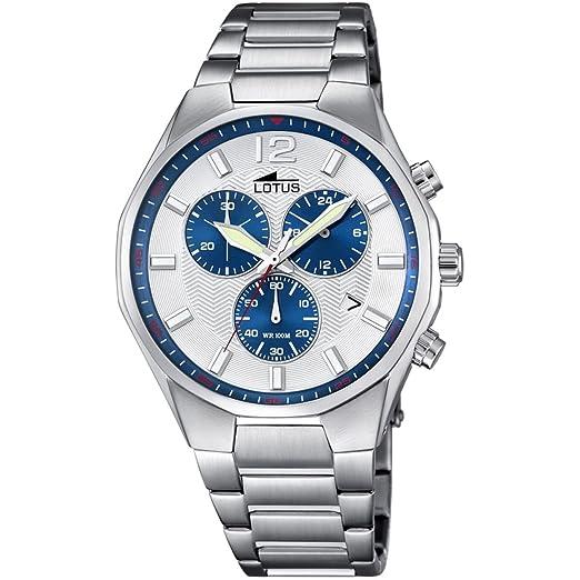 Lotus Reloj Cronógrafo para Hombre de Cuarzo con Correa en Acero Inoxidable 10125/5: Amazon.es: Relojes