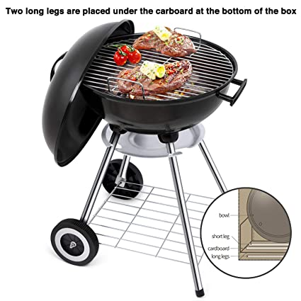 Portable Charcoal Grill for Outdoor Grilling 18inch Barbecue Grill and Smoker Heat Control Round BBQ Kettle Outdoor Picnic Patio Backyard Camping ...