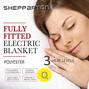 Heated Electric Blanket Washable Fully Fitted Polyester Underlay Warm Bed Queen