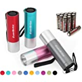 EverBrite 4-Pack Mini LED Aluminum Flashlight, Random Color, Handheld Torch with Lanyard 3AAA Battery Included (Hurricane Supplies, Camping, Hiking, Emergency, Hunting)