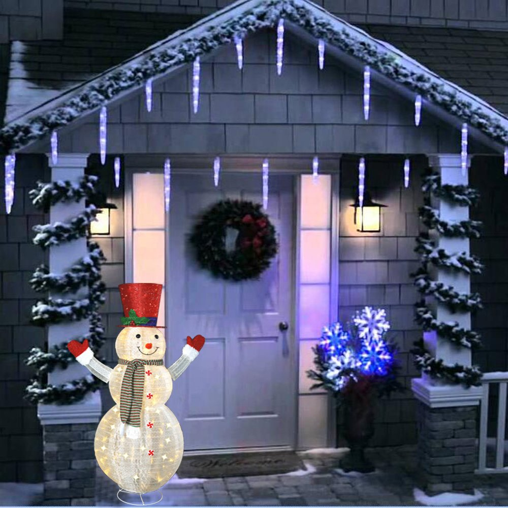 60'' LED Popup Snowman Outdoor Collapsible Lighted Snowman Christmas Yard Decorations with 120 Lights by Jingle light (Image #7)
