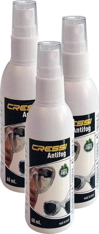 Cressi Anti-Fog 60Ml-3 Pack Antivaho Spray para Máscara de Buceo/Gafas de Natación, Unisex-Adult, Trasparente