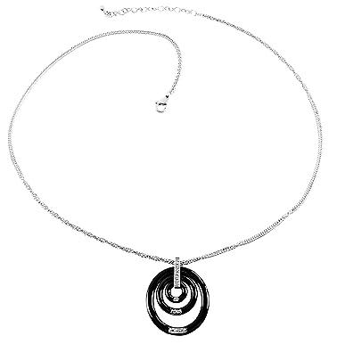 3c8c90de70cc Collar para mujer de Stella Maris - Colgante redondo - Plata Sterling 925 y  cerámica negra Premium - Elementos Swarovski y Diamante - 45 cm -  Cap46Black  ...
