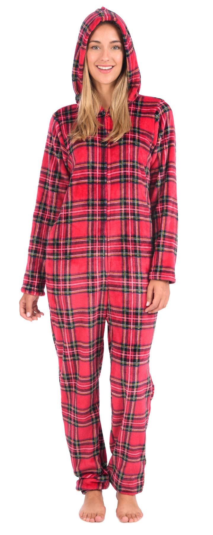 Body Candy Women's Plush Adult Animal Hood Onesie Pajama (Tartan Plaid, Small) by Body Candy Loungewear