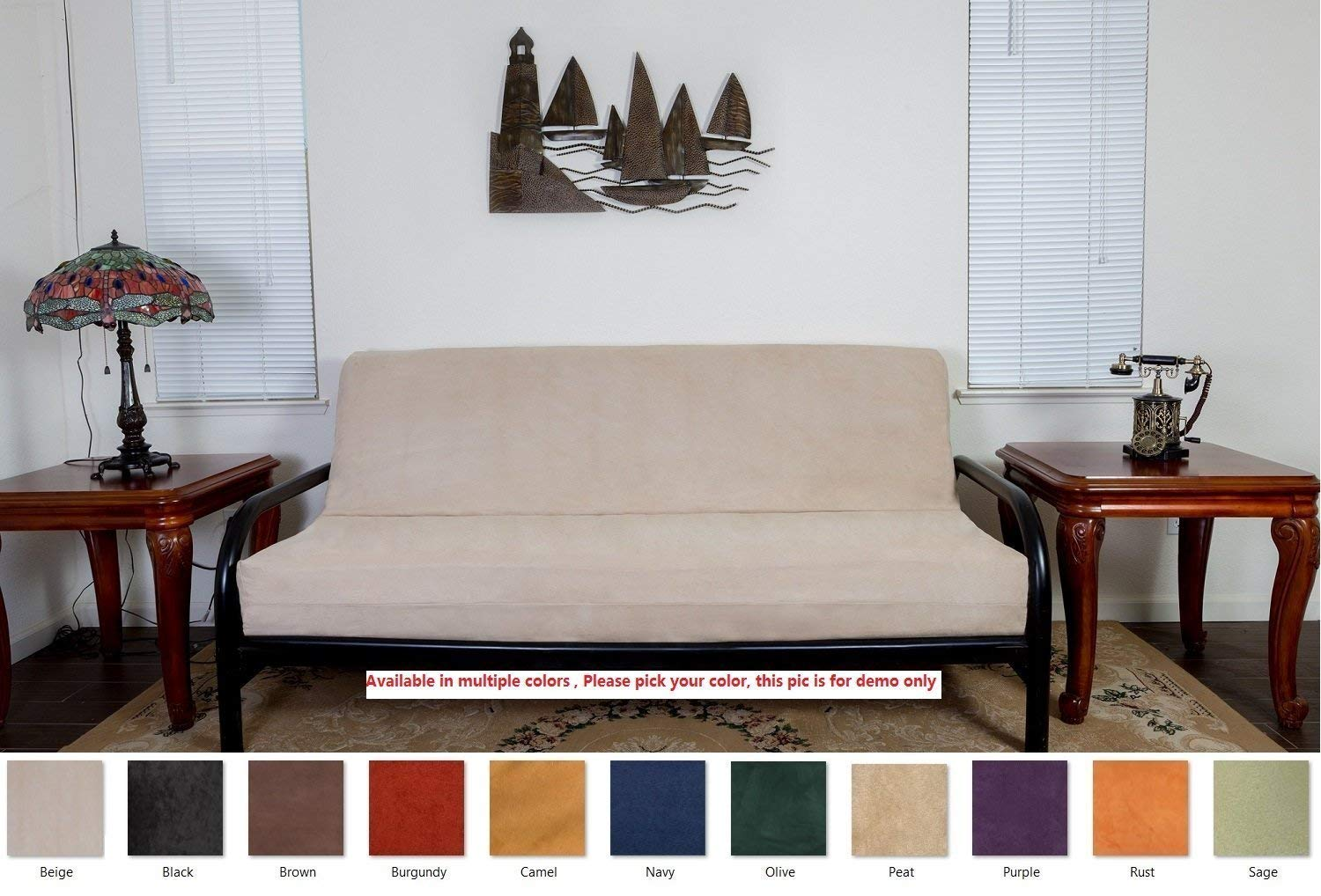 OctoRose BEIGE Full Size 3 Side Zipper Quality Bonded Micro Suede Futon Mattress Cover by OctoRose (Image #3)