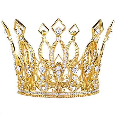 Amazon Com Stuffwholesale Inch Height Queen Crown Austrian Rhinestone Gold Tiara Crown Bridal Wedding Hair Accessory Gold Jewelry