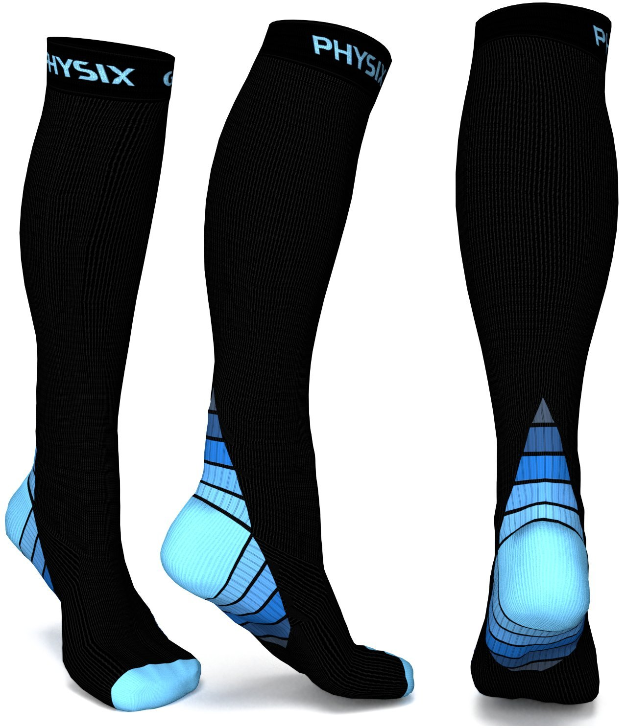 Physix Gear Compression Socks for Men & Women (20-30 mmHg) Best Graduated Athletic Fit for Running, Nurses, Shin Splints, Flight Travel & Maternity Pregnancy – Boost Stamina, Circulation & Recovery