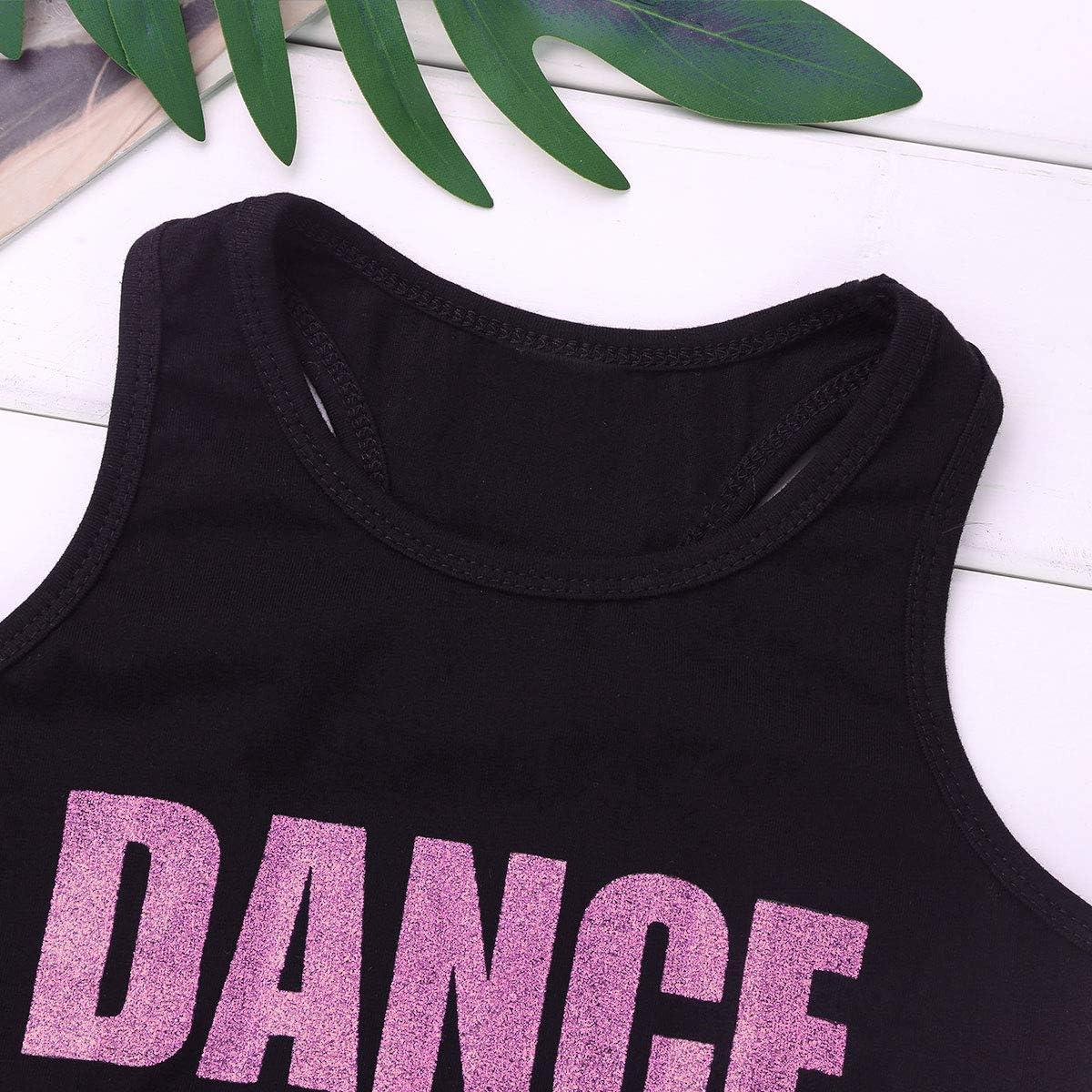 dPois M/ädchen Sport BH Crop Tops Tanz Bauchfrei Oberteile Shirt T-Shirt Bustier Kinder Tanzanzug Yoga Training Weste Bralette Ballettanzug Sportanzug