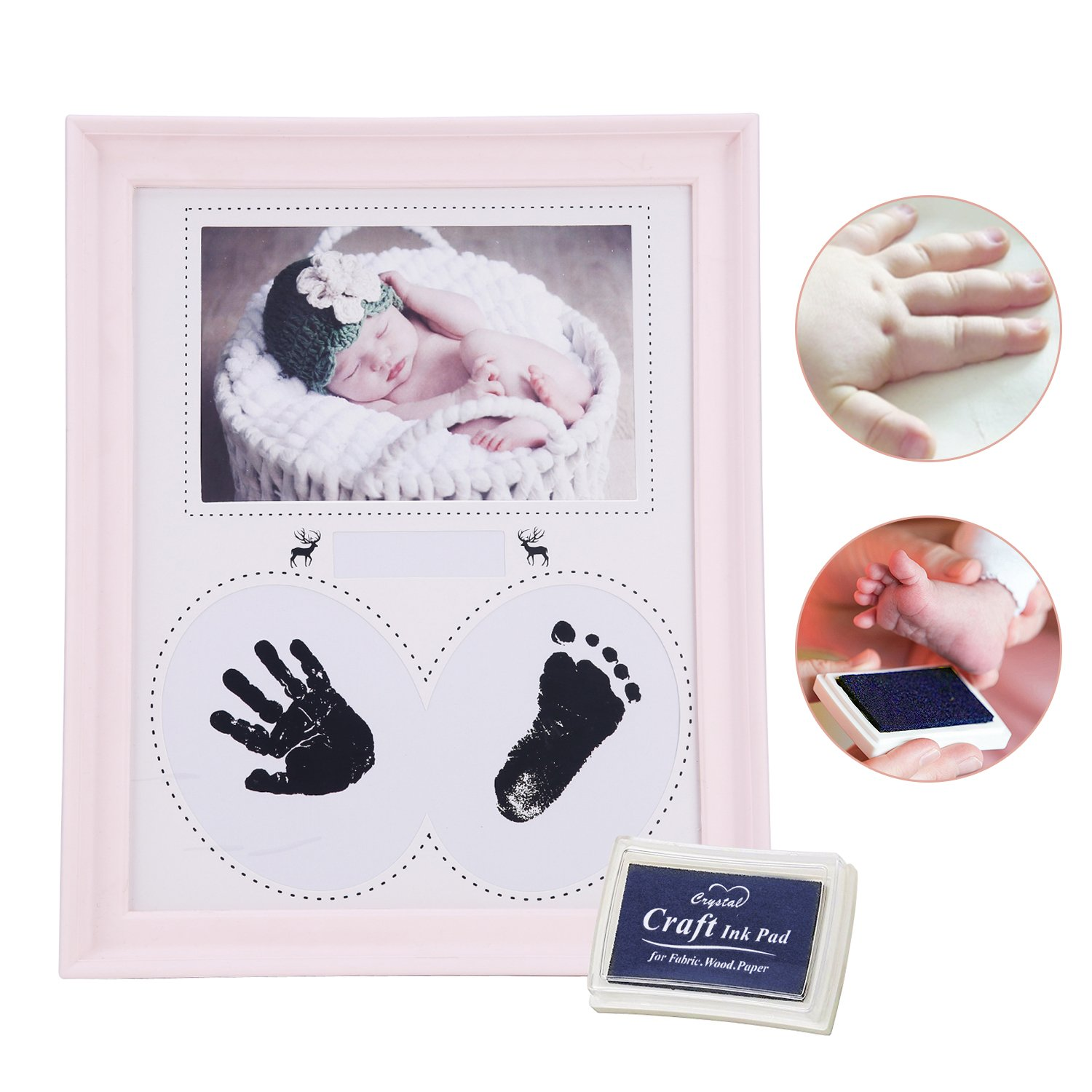 Baby Handprint Kit Hand & Footprint Makers Photo Frame Memorable Keepsakes Decorations for Newborn Baby Pets DIY Creative Keepsake Frames Wall Table Décor Plastic Frame + Inkpad Photo Frame (Pink) TC-Collection