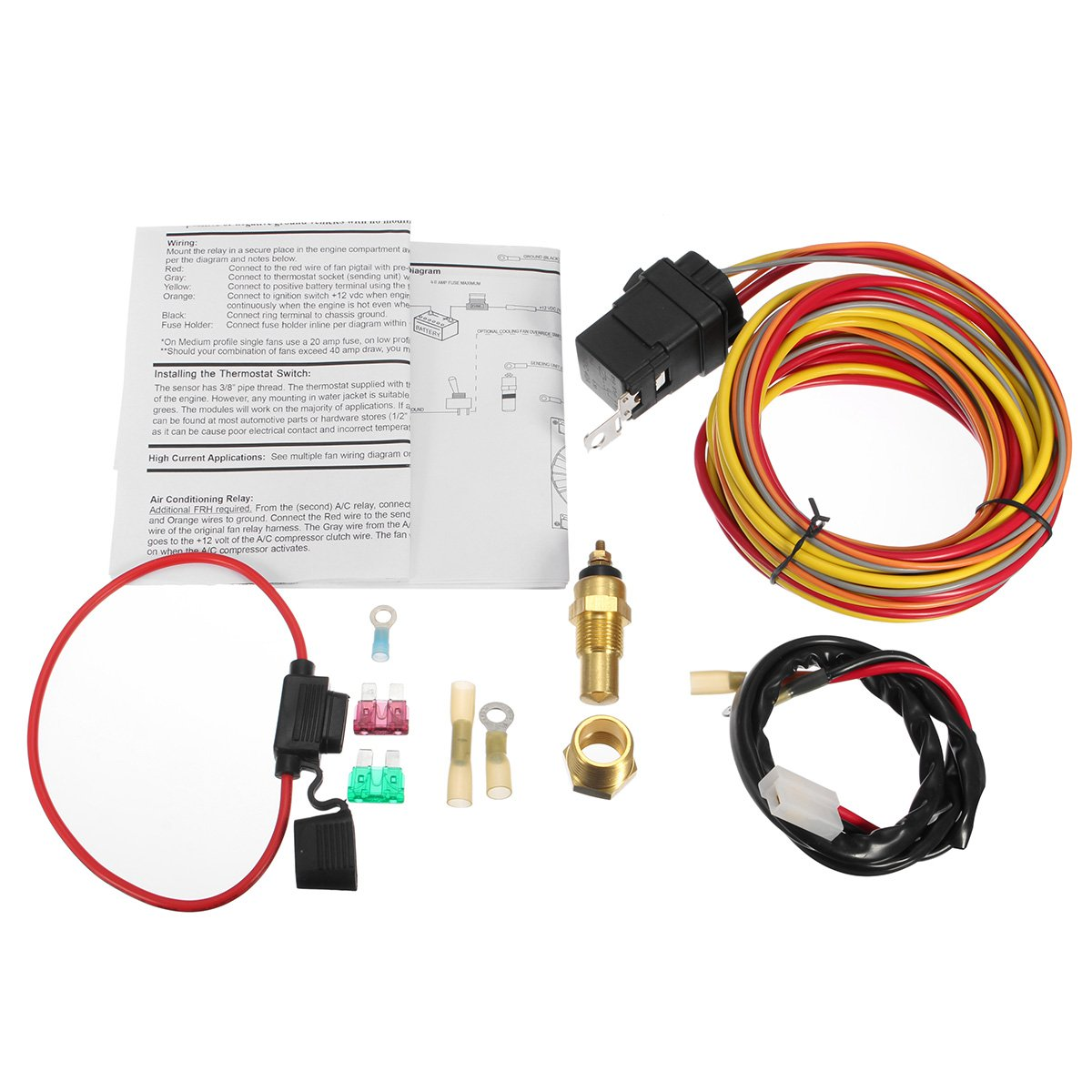 Electrical Equipment Supplies Other How A 12 Volt Relay Works Heavy Duty Dual Electric Fan 40 Amp Wiring Harness Thermostat Sensor Kit