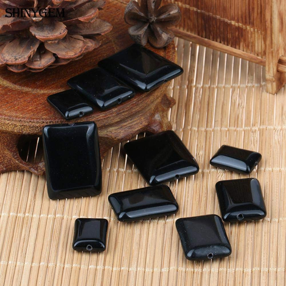 Calvas 1318/1825/2230mm Rectangle Black Obsidian Loose Beads Drilled Hole Natural Stone Beads for Jewelry Making 20pcs/Lot - (Color: Black, Item Diameter: 22x30mm)