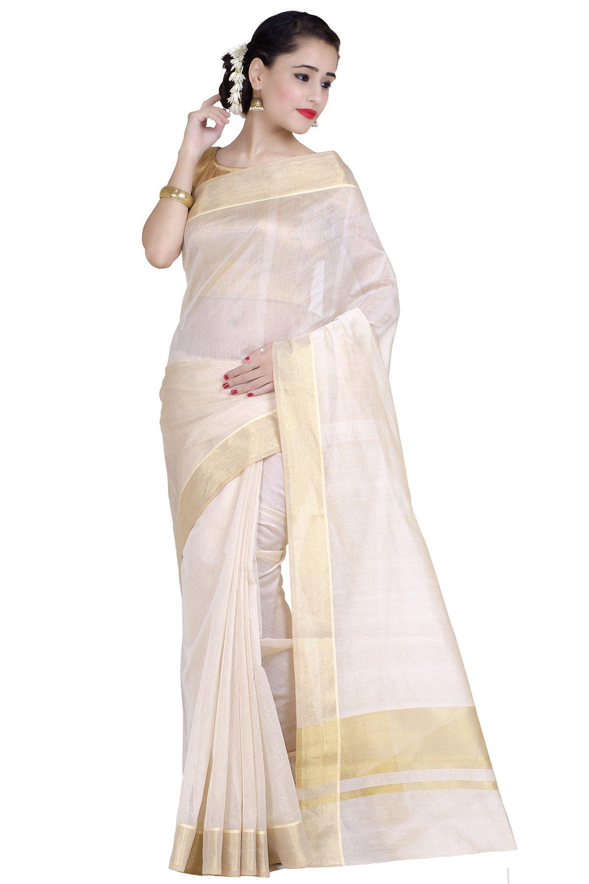 Chandrakala Women's Beige Cotton Silk Banarasi Saree with unstitched Blousepiece.