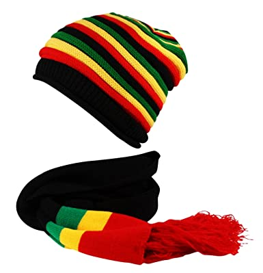 3e3a996def2 Rasta Hat and Scarf Set Knitted Beanie Cap Hat Reggae Black Red Yellow Green   Amazon.co.uk  Clothing