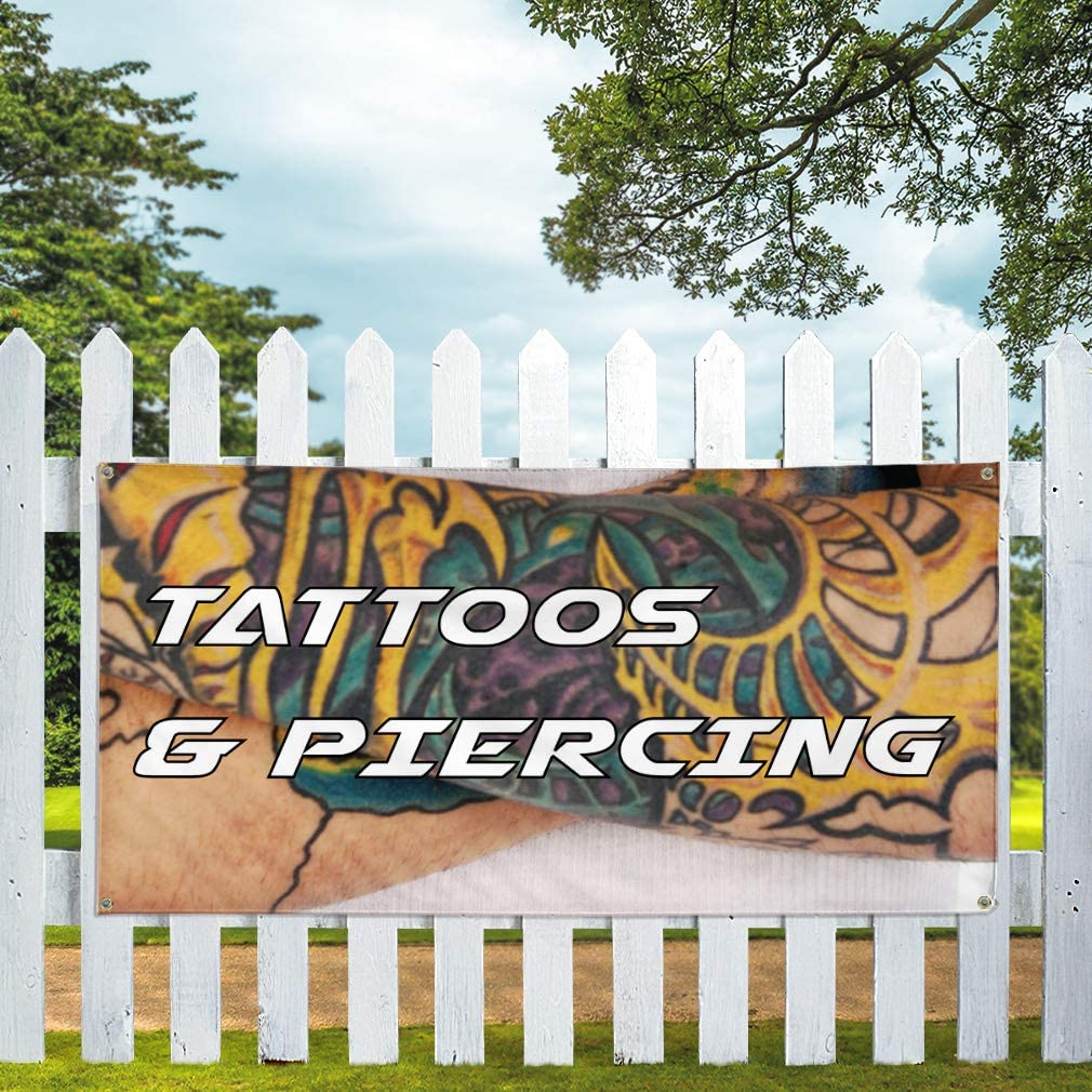 24inx60in Multiple Sizes Available 4 Grommets Set of 3 Vinyl Banner Sign Piercing #1 Style A Business Hole in Body Marketing Advertising White