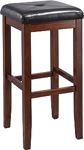Crosley Furniture CF500529-MA Upholstered Square Seat Bar Stool (Set of 2), 29-inch, Vintage Mahogany