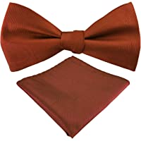 Mens Exquisite Woven 100% Silk Self Bowtie Solid Plain Bow Ties & Pocket Square Set -Various Colors