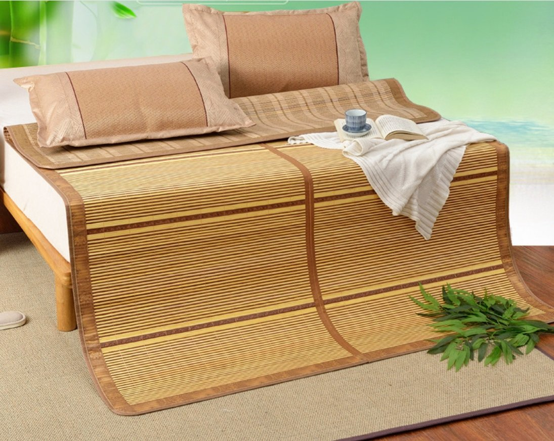 Summer Double-sided Folding Bamboo Mat 0.9 Meters Student 1.8 Meters Mat 1.5 Meters Bamboo Mat ZXCV (Size : 150195CM)