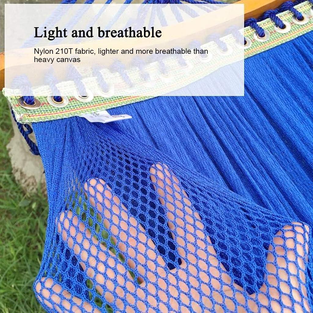 BL Hamac en Nylon tress/é avec Barres en Bois hamac de Camping Portable lit de Jardin en Plein air pour Cour de Jardin en Plein air Plage Pique-Nique Fishin