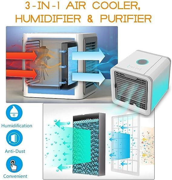 GESUNDHOME Arctic Air/ humidificateur et purificateur davec 7/Couleurs lumi/ères LED /3/en 1/Portable Mini Refroidisseur dair /Espace Personnel Air Cooler/