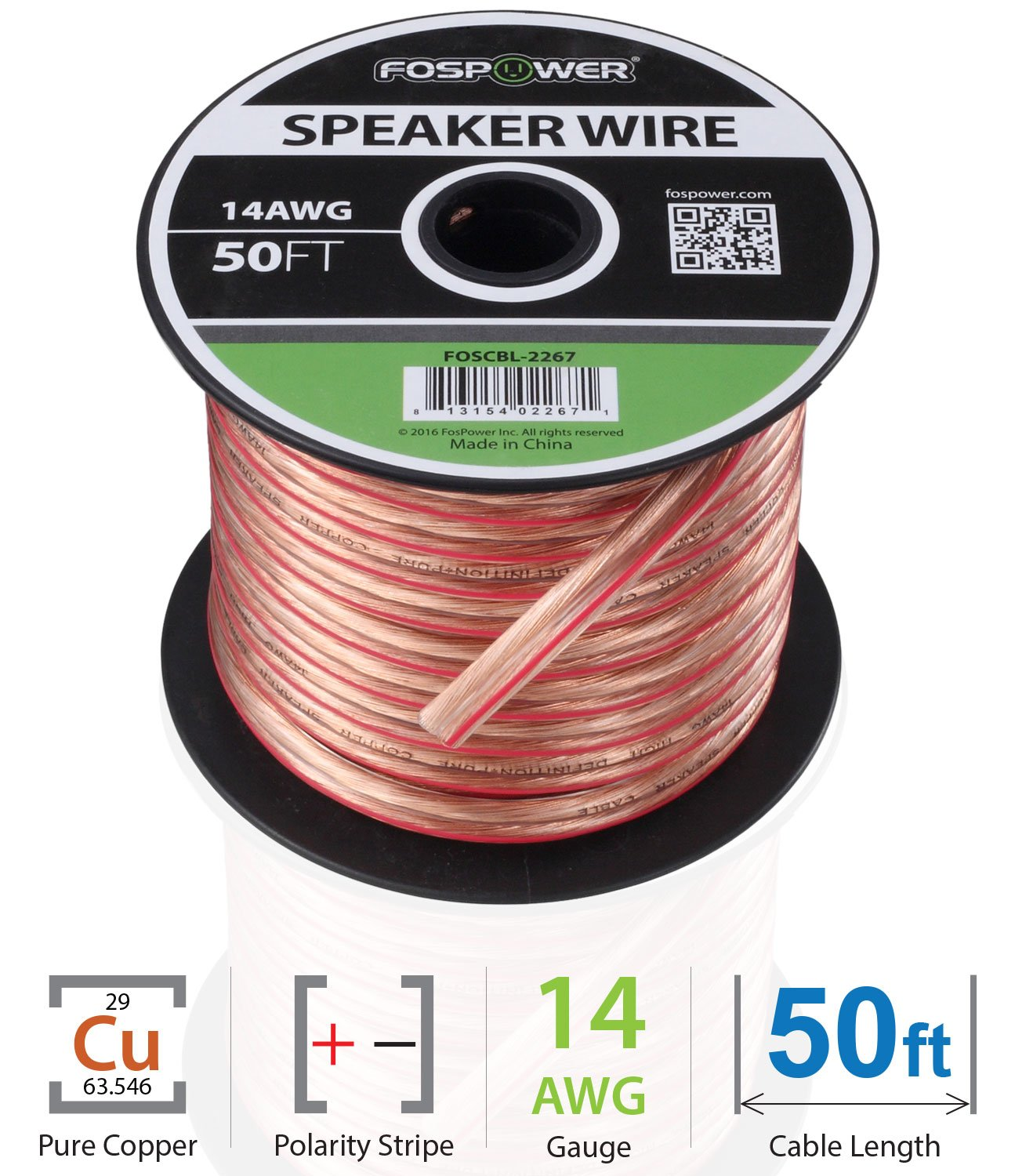 Fospower 14awg Speaker Wire 14 Gauge 50 Ft Premium Speakers Diagram Further Bi Cable On Wiring Spooled Oxygen Free Copper Ofc With Clear Pvc Jacket Polarity Stripe