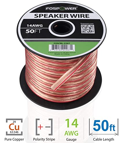 FosPower 14AWG Speaker Wire [14 Gauge | 50 FT] Premium Spooled Oxygen-Free
