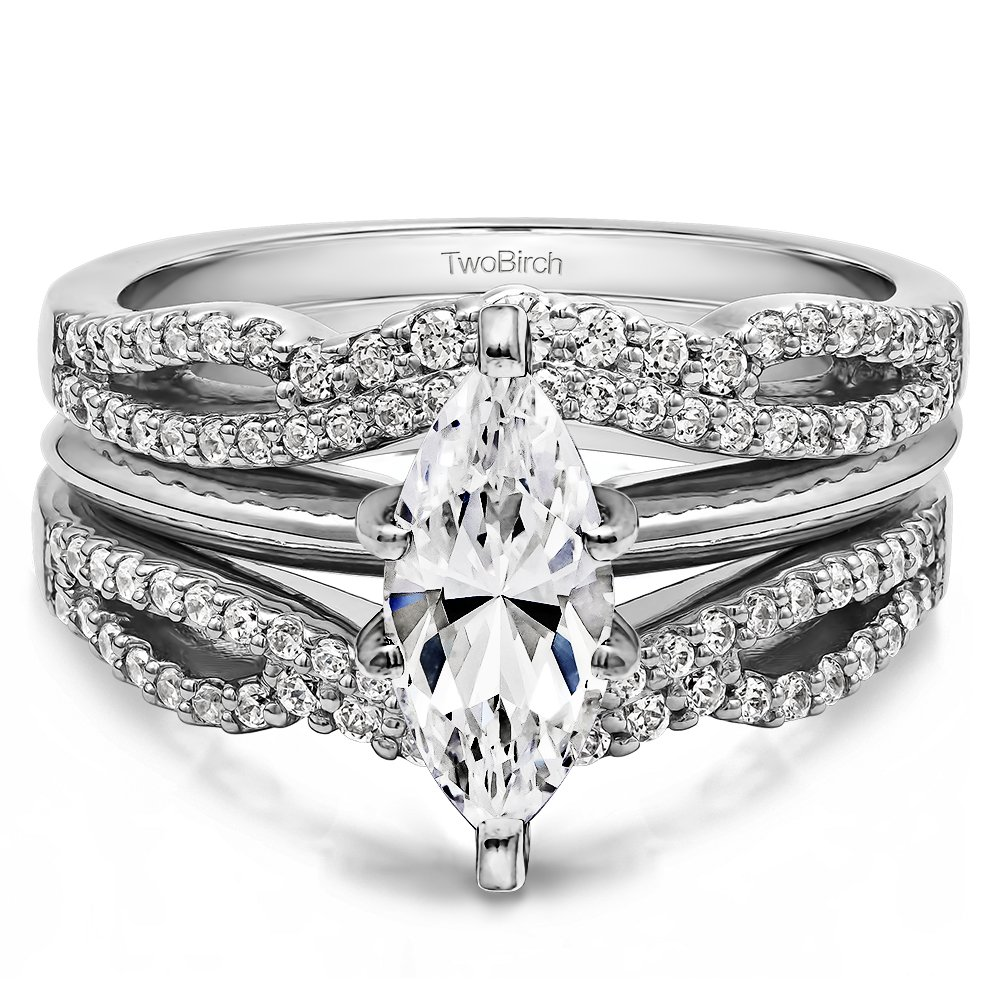 TwoBirch 0.57 Ct Double Infinity Wedding Ring Guard Enhancer in Sterling Silver with Cubic Zirconia