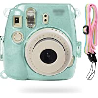 SHAFIRE Protective Case Compatible for Fujifilm Mini 8/Mini 9 Instant Camera - Crystal Hard PVC Cover with Removable Rainbow Shoulder Strap - Blue Transparent