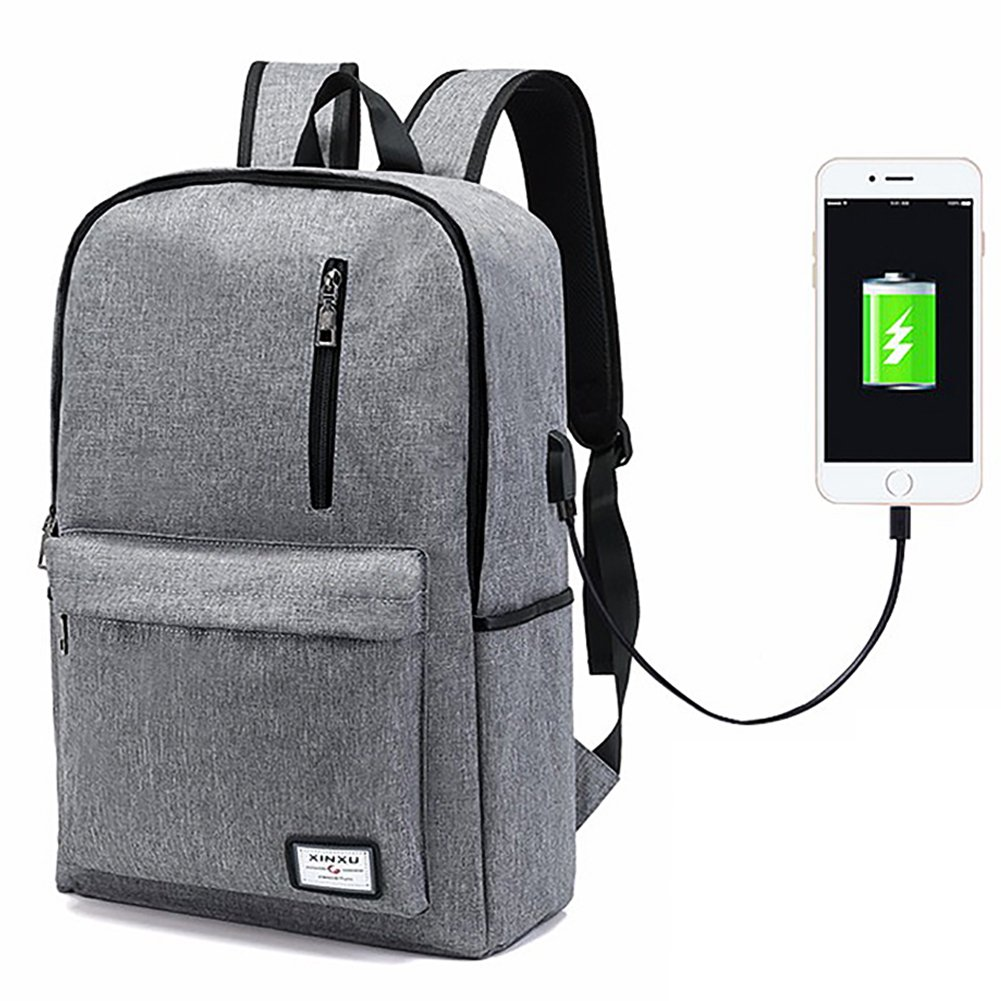 Laptop Backpack,Business Computer Backpack Men Women Lightweight Slim Travel College School Backpack Bags USB Charging Port Fits 15 inch Notebook (Grey)