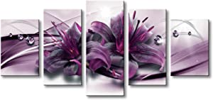 Purple Lily Flower Canvas Art 5 Panels Floral Print Painting Modern Wall Decor